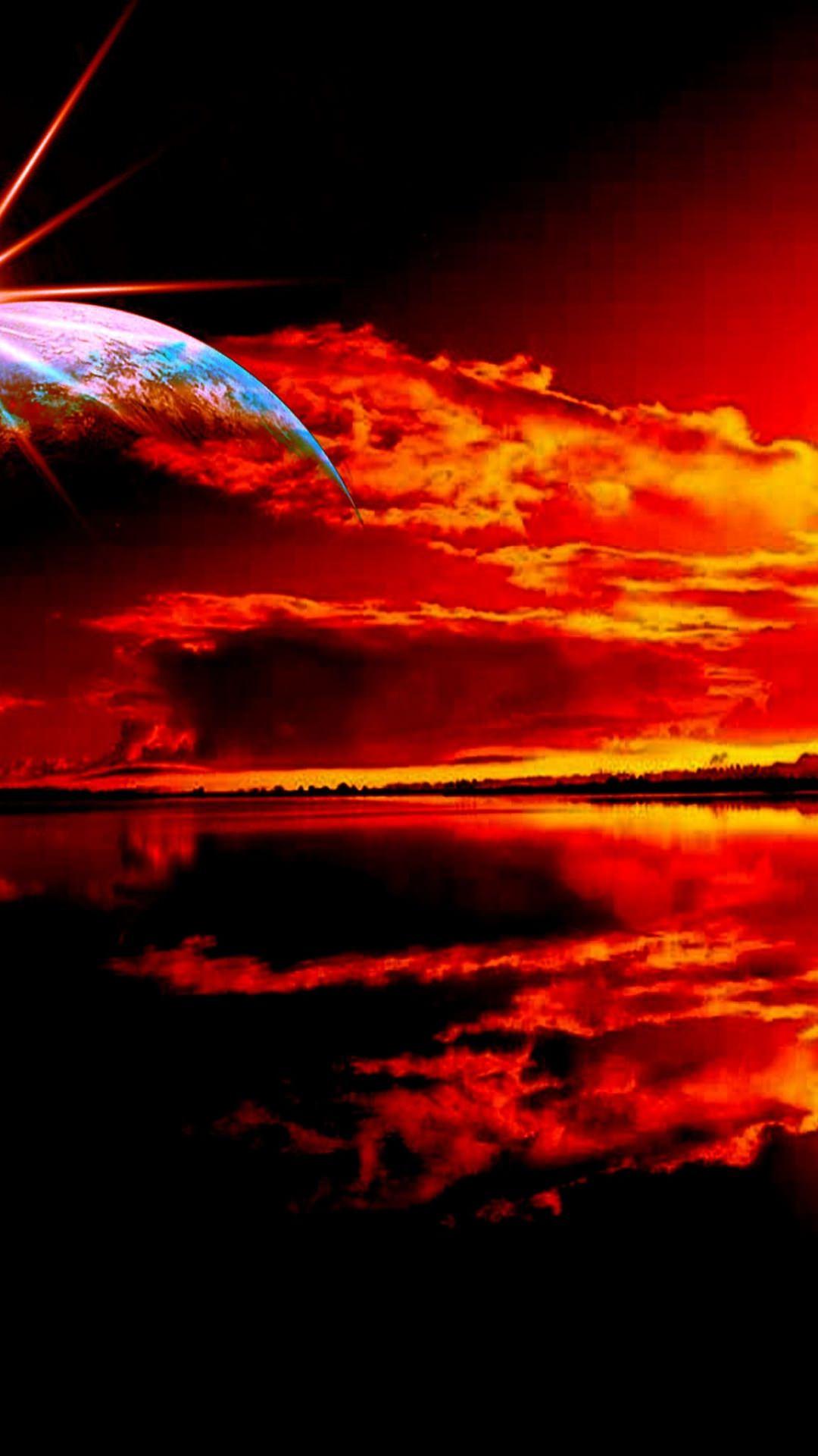 Pemandangan Matahari Terbenam Merah Wallpapersc Android