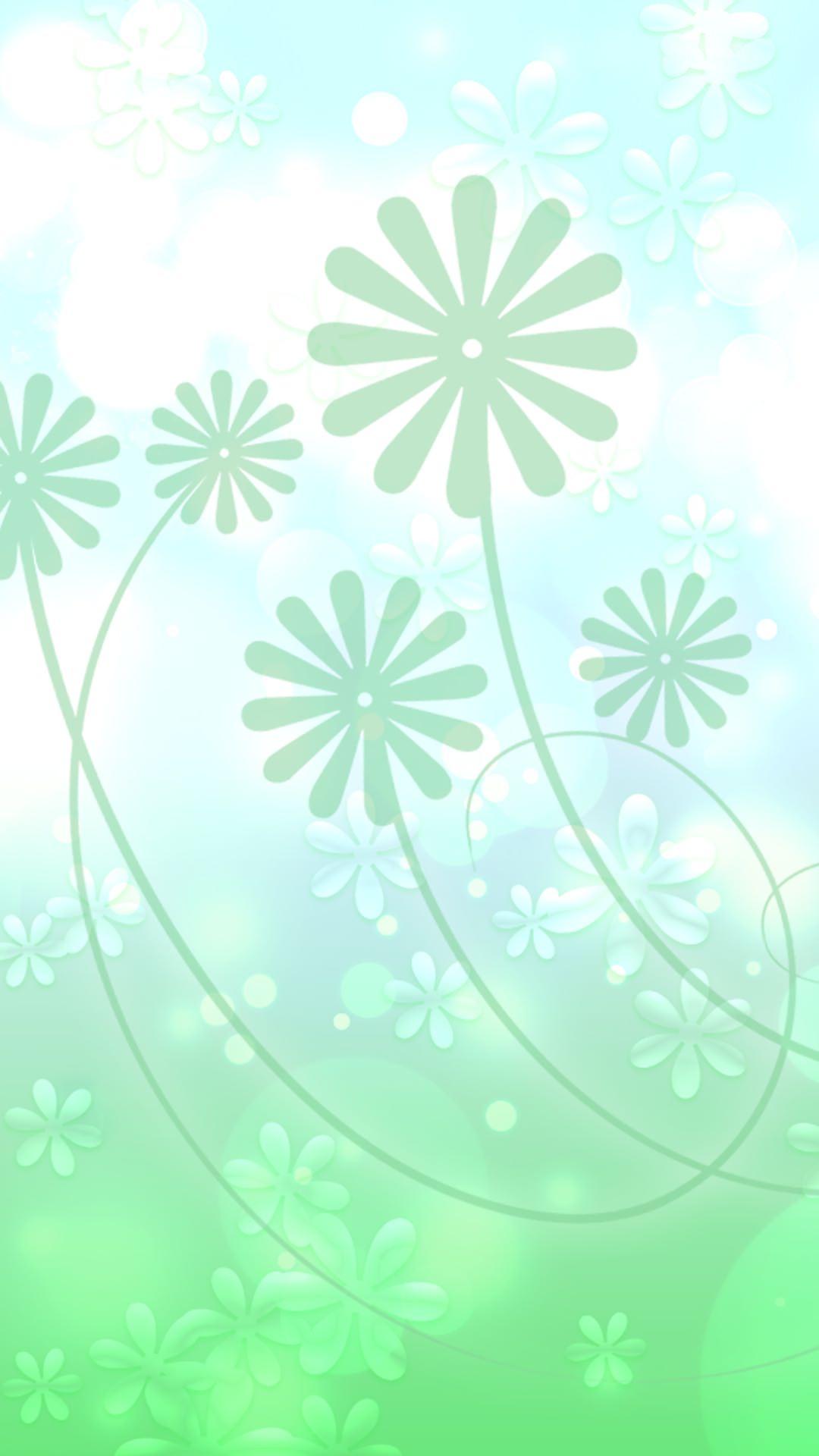 Lucu Hijau Putih Bunga Daun Wallpapersc Android