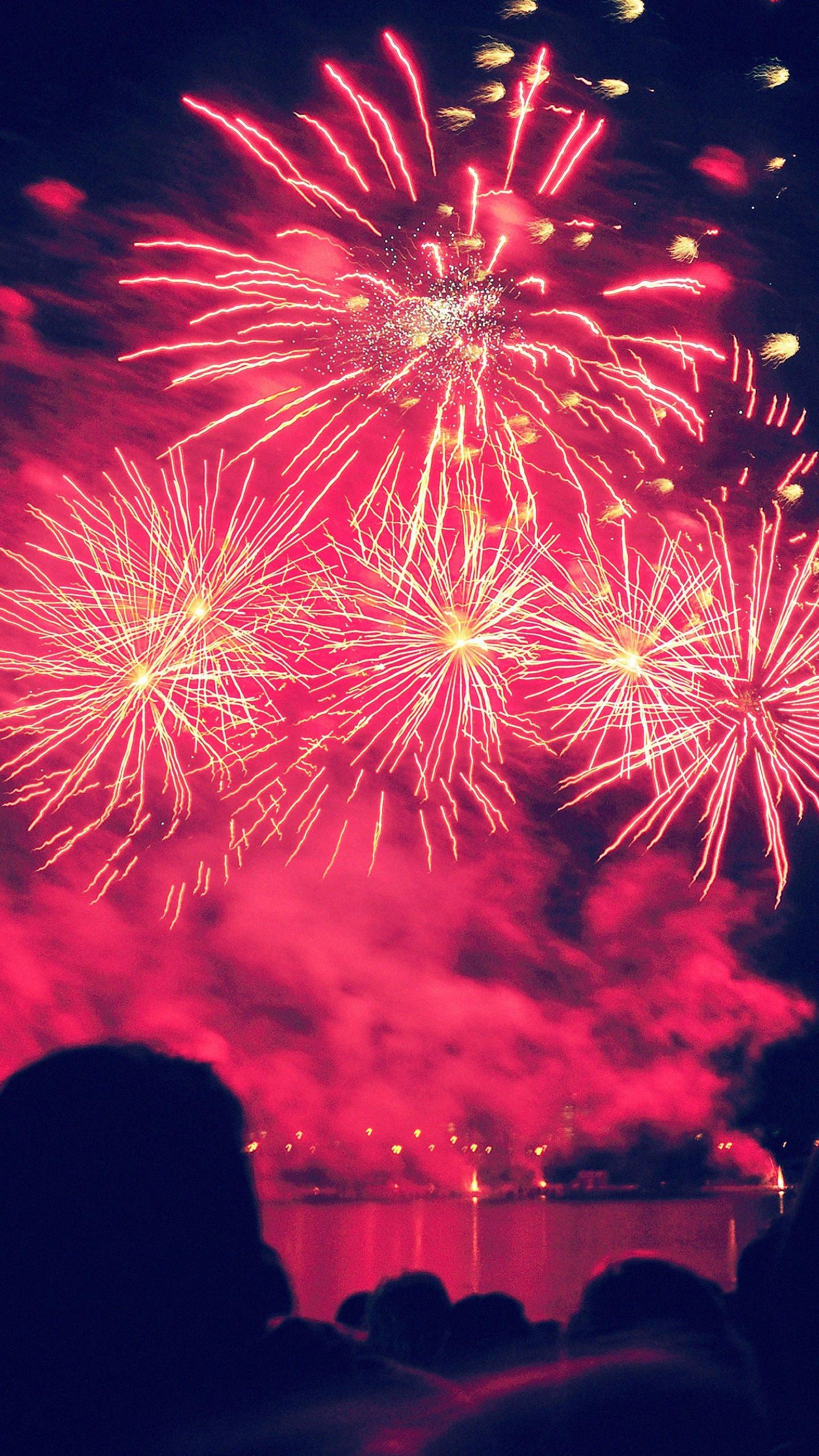 Landscape red fireworks  wallpaper.sc SmartPhone