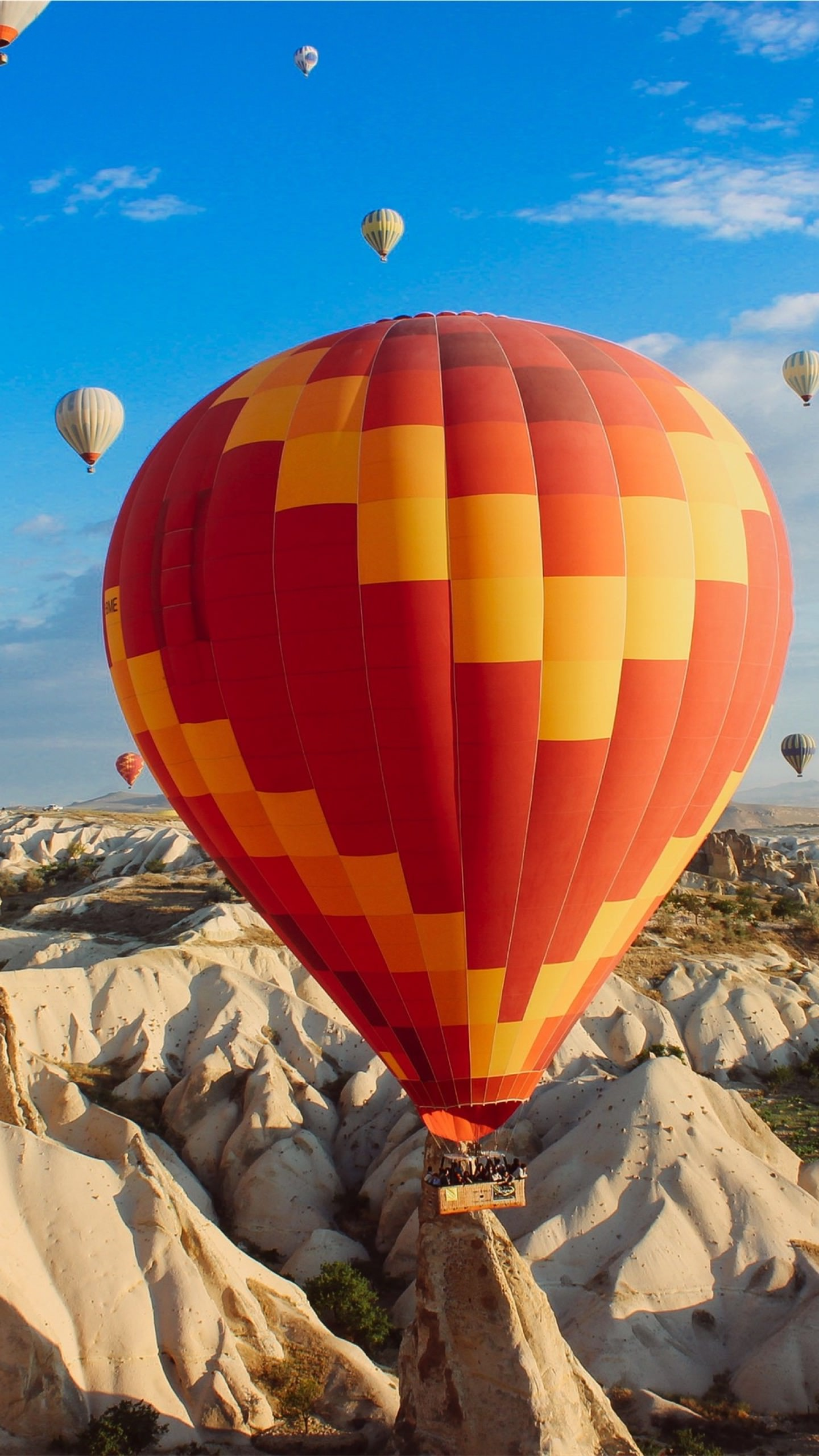 landscape balloon sky blue android smartphone wallpaper