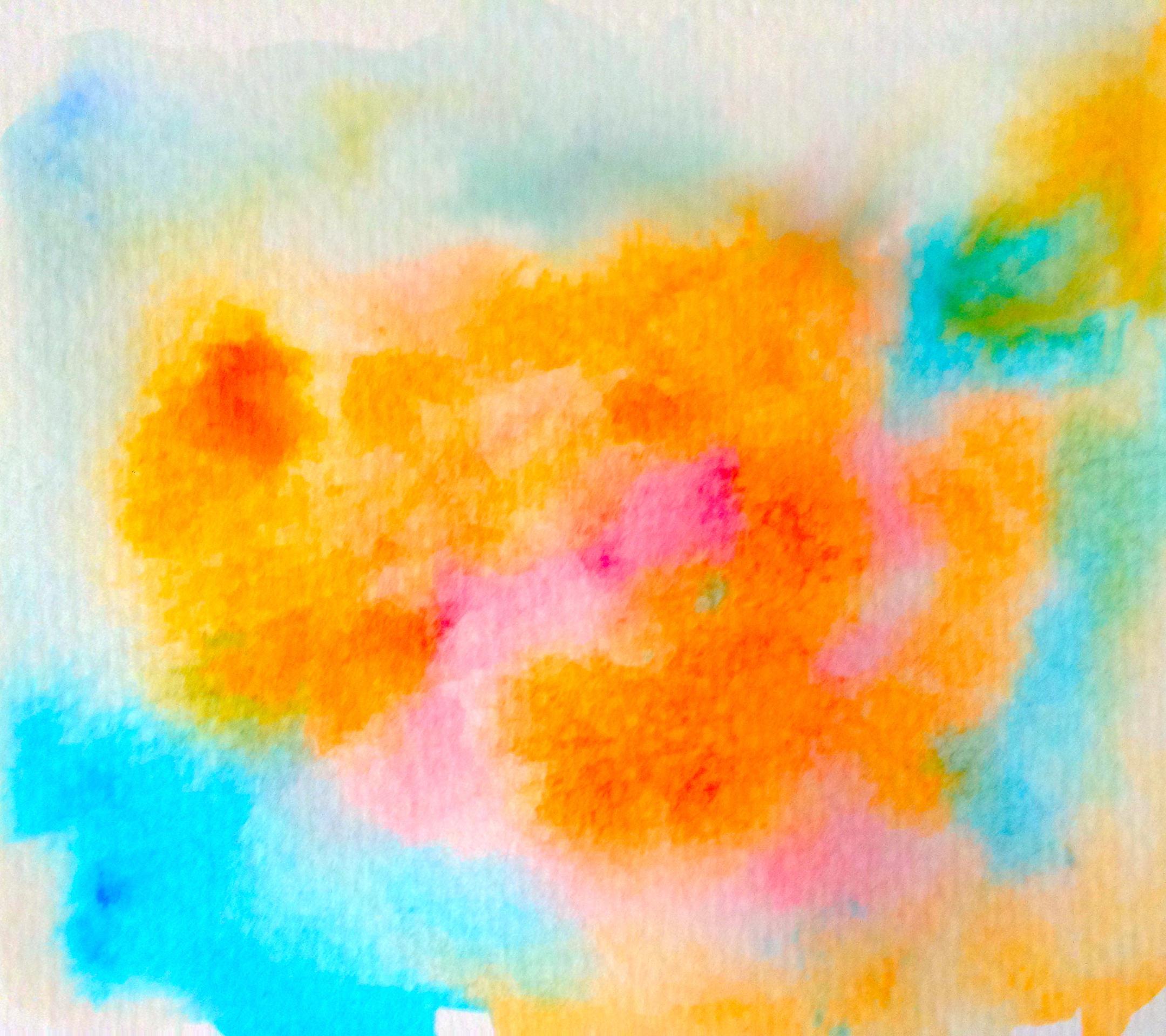 Pintura De Color Azul Claro Patrón De Color Naranja