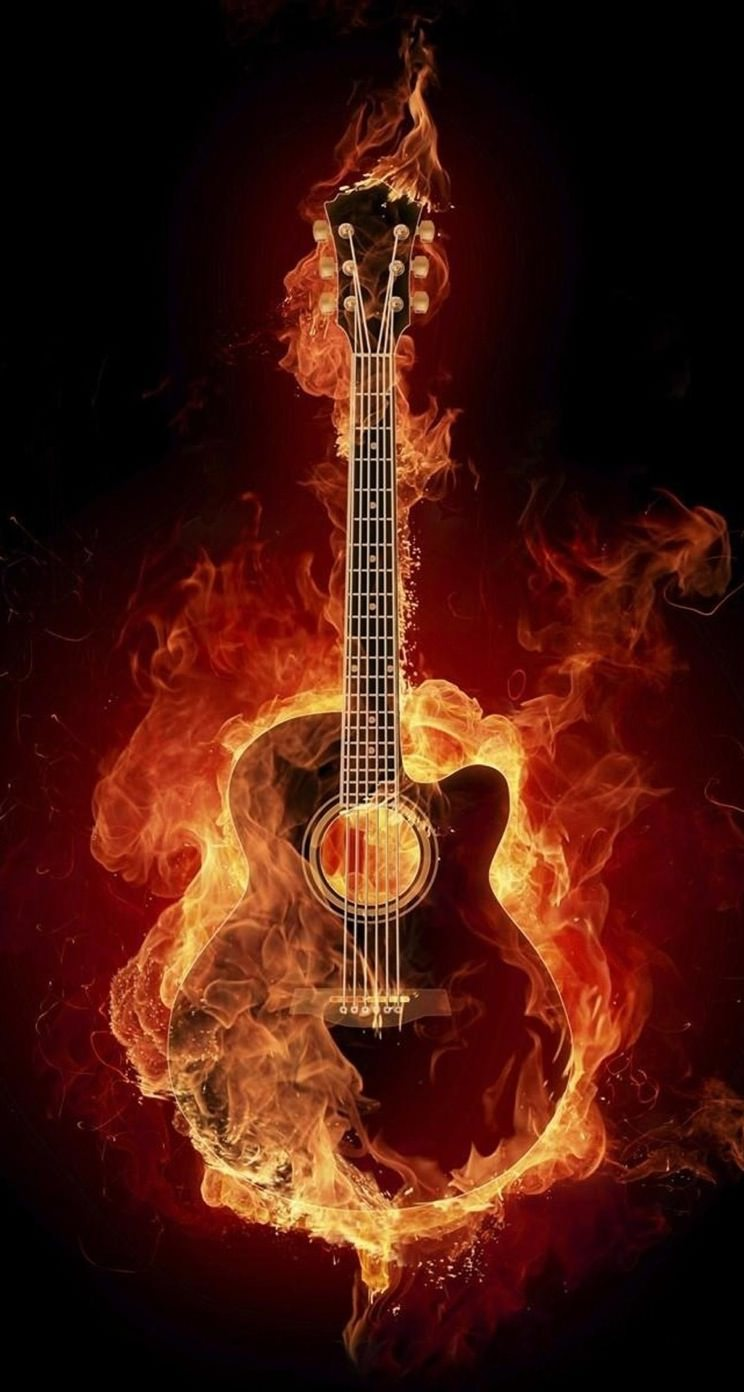 Cool Acoustic Guitar Red Wallpaper Sc Iphone5s Se