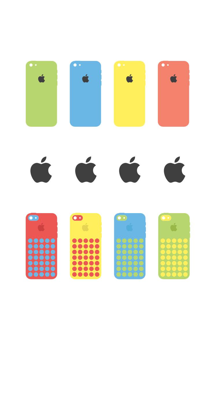 Iphoneapple白可愛いカラフル Wallpaper Sc Iphone5s Se壁紙