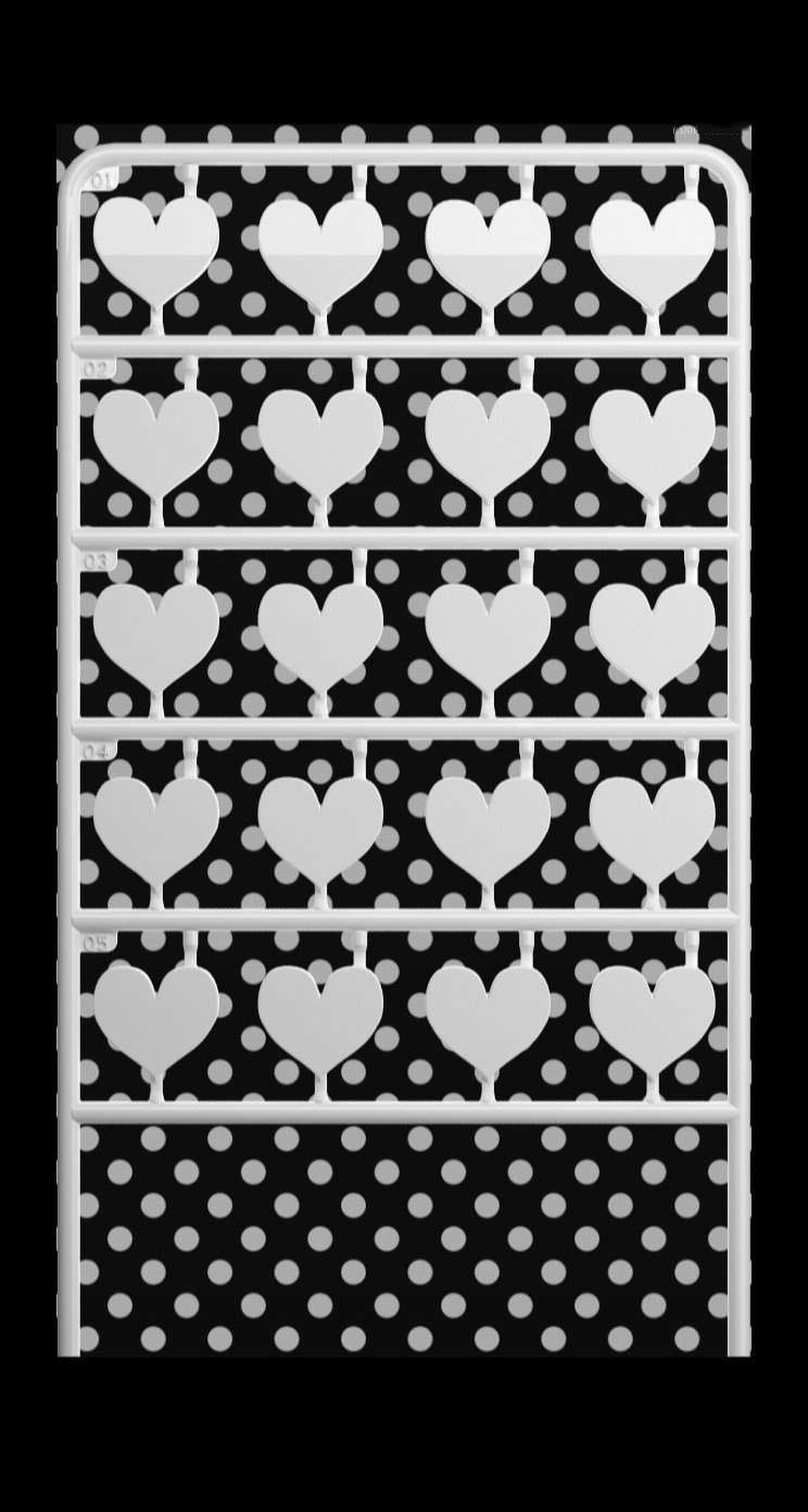 For Girls Cute Black And White Dot Shelf Heart Wallpaper