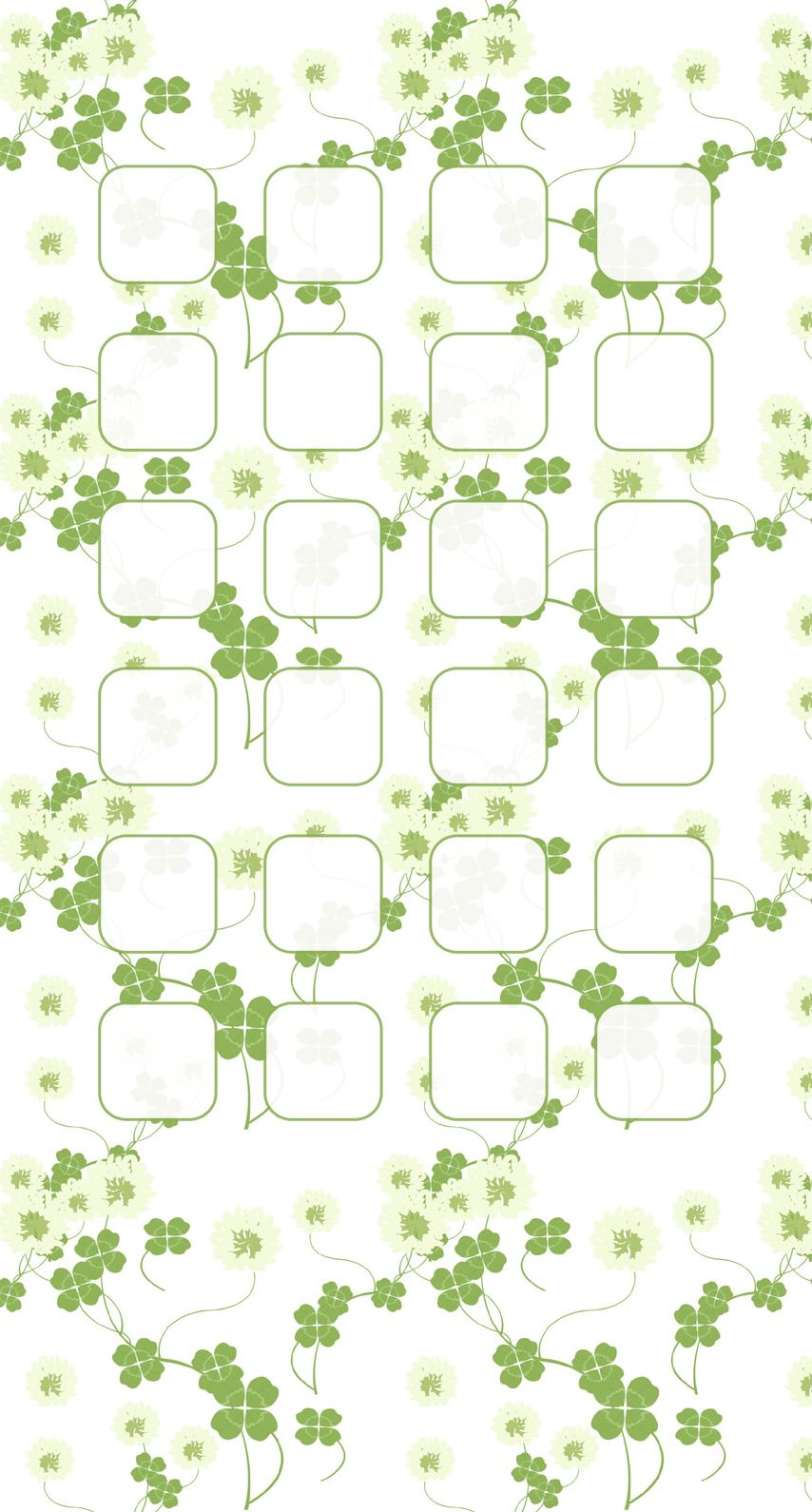 模様イラストクローバー緑白棚の iPhone6s / iPhone6 壁紙
