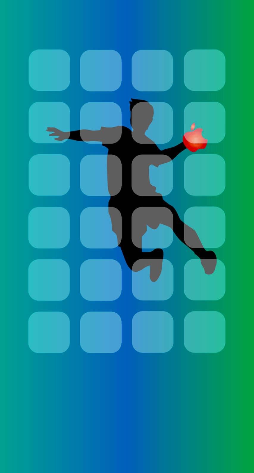 棚青緑appleロゴハンドボール Wallpaper Sc Iphone6s壁紙
