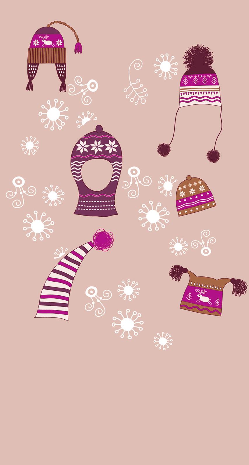 冬雪帽子桃可愛い女子向け Wallpaper Sc Iphone6s壁紙