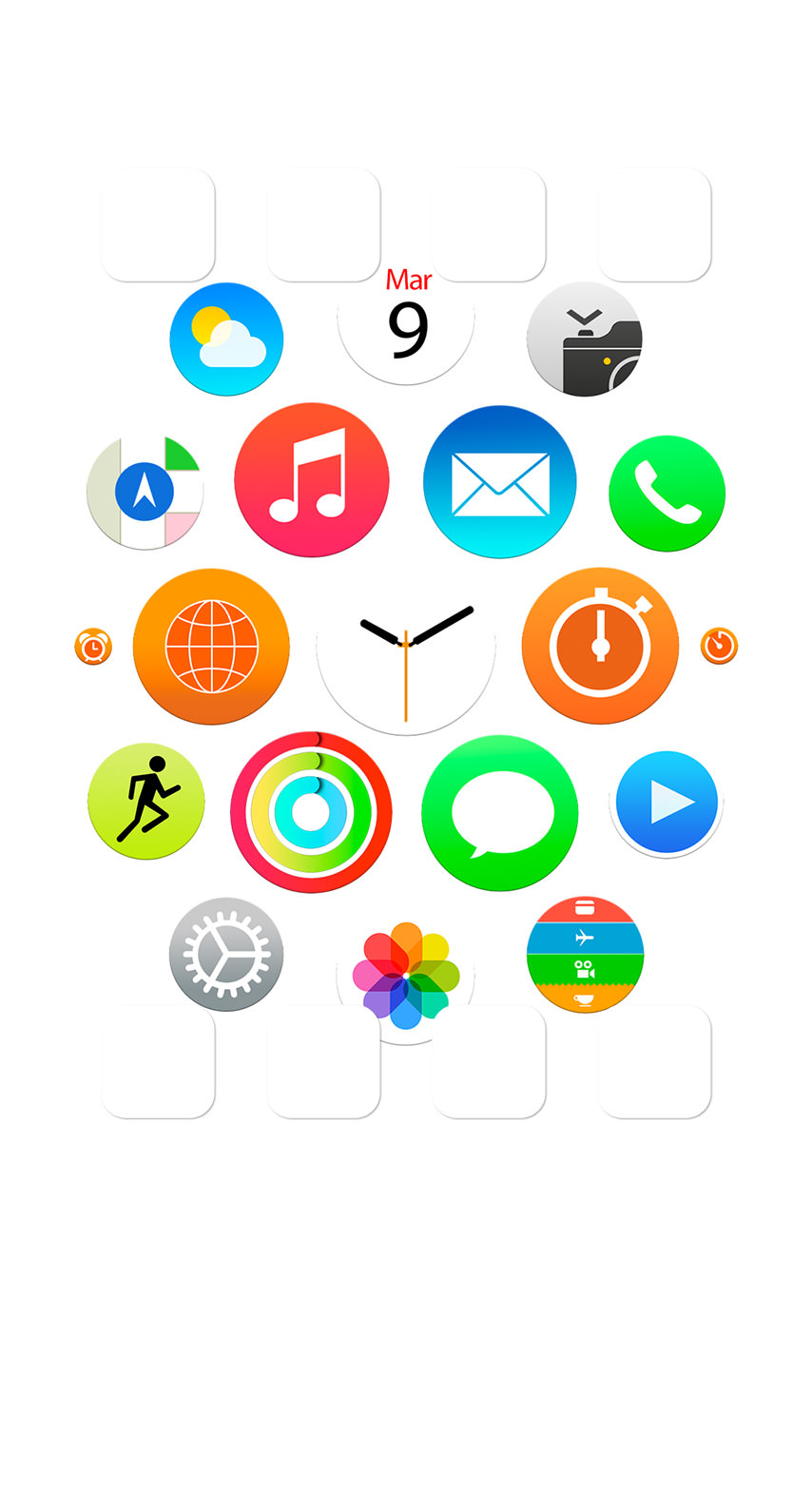 Apple Watch風白棚 Wallpaper Sc Iphone6s壁紙