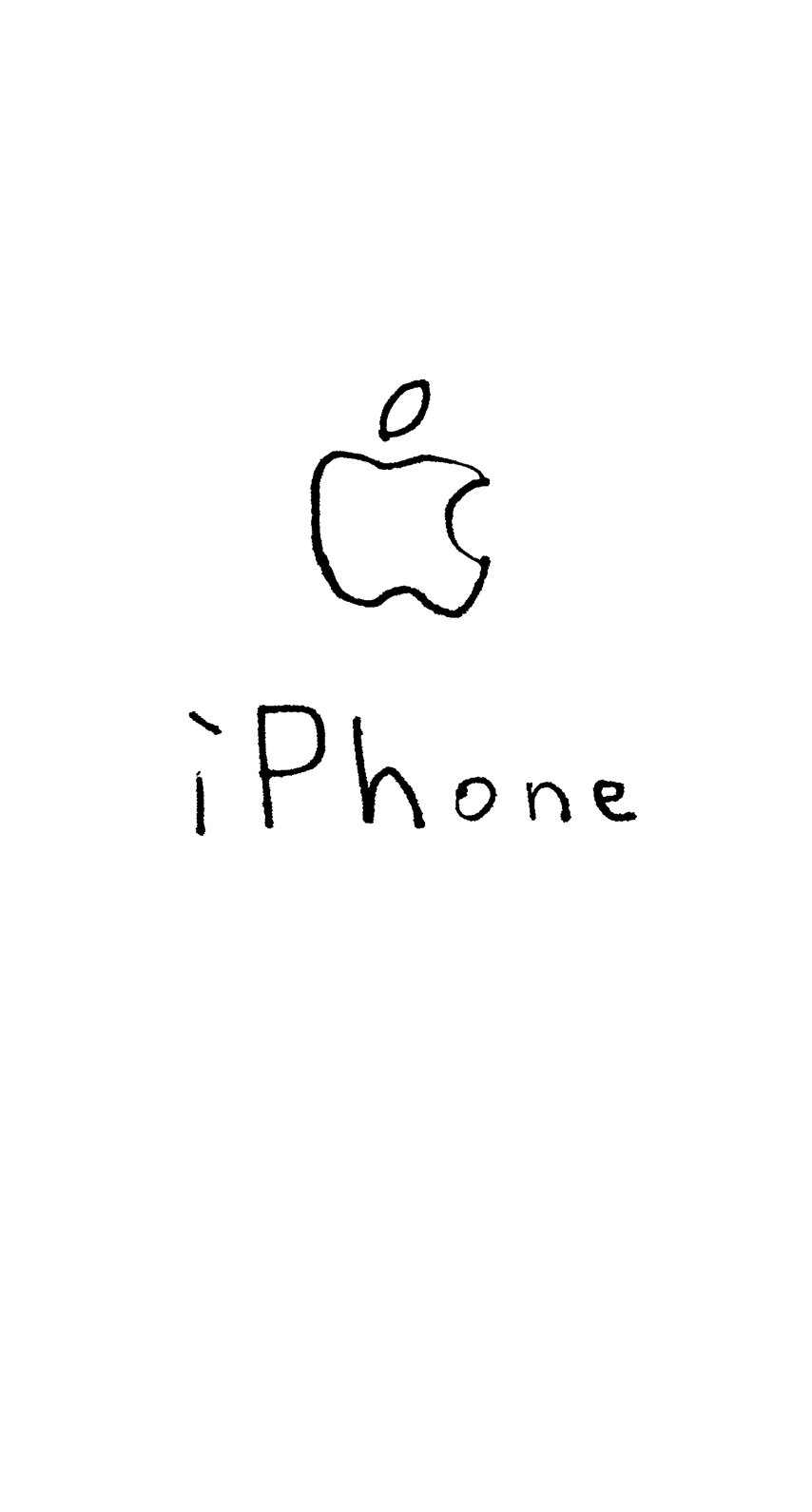 イラストAppleロゴiPhone白の iPhone6s / iPhone6 壁紙