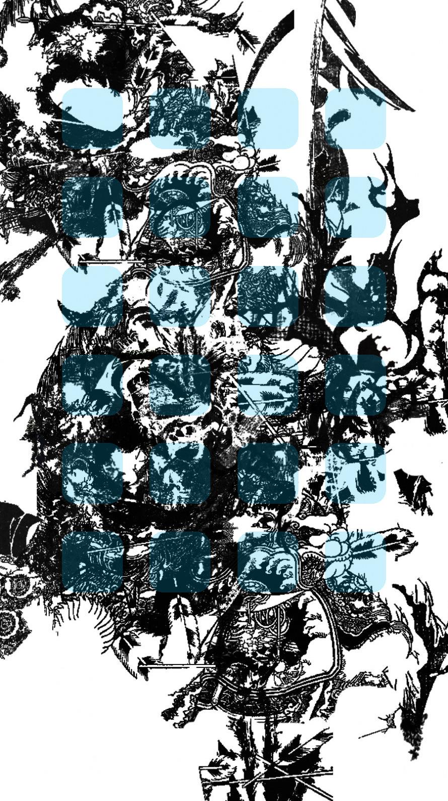 イラスト黒白青棚 Wallpapersc Iphone6s壁紙