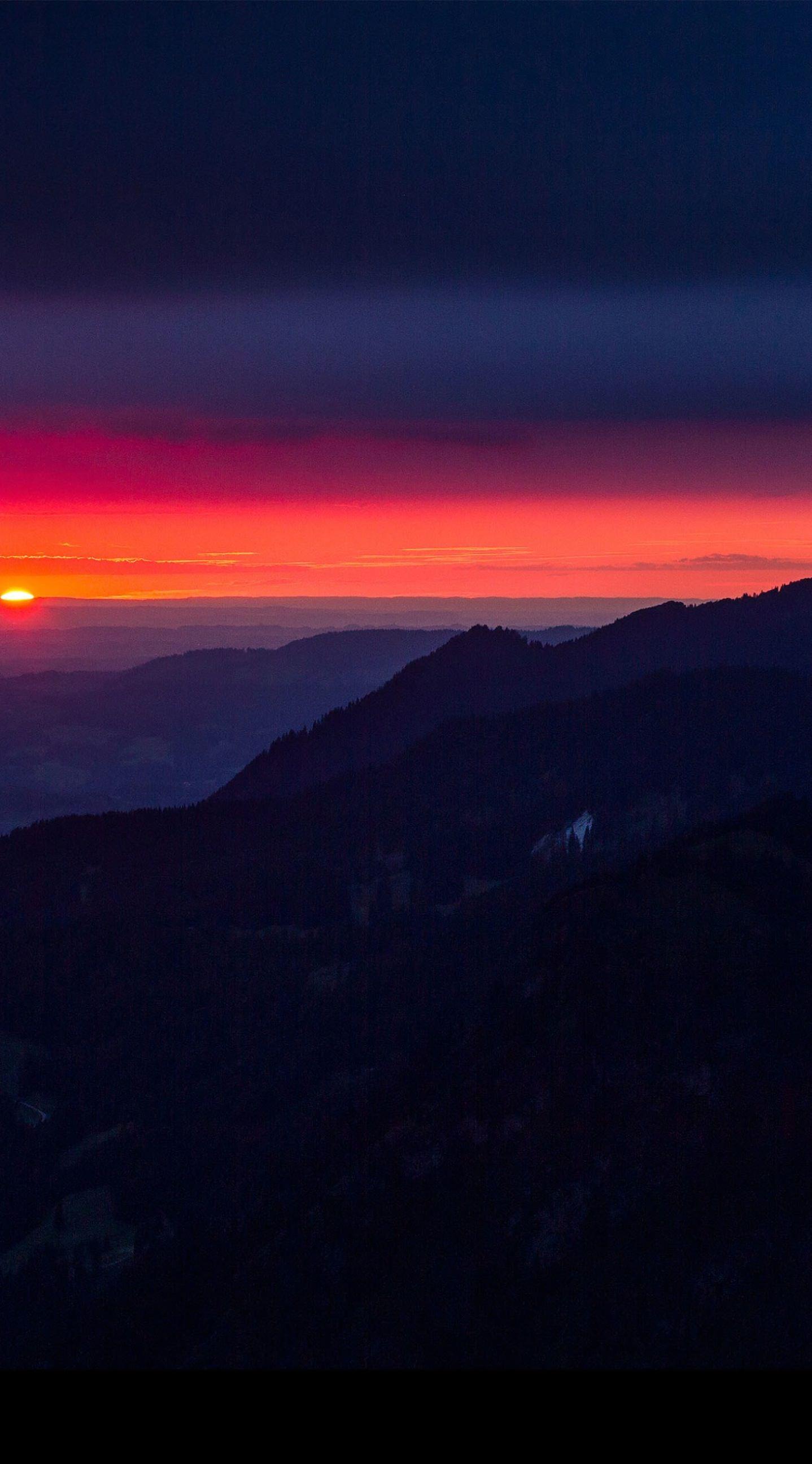 Pemandangan Matahari Terbenam Mountain Laut Wallpapersc