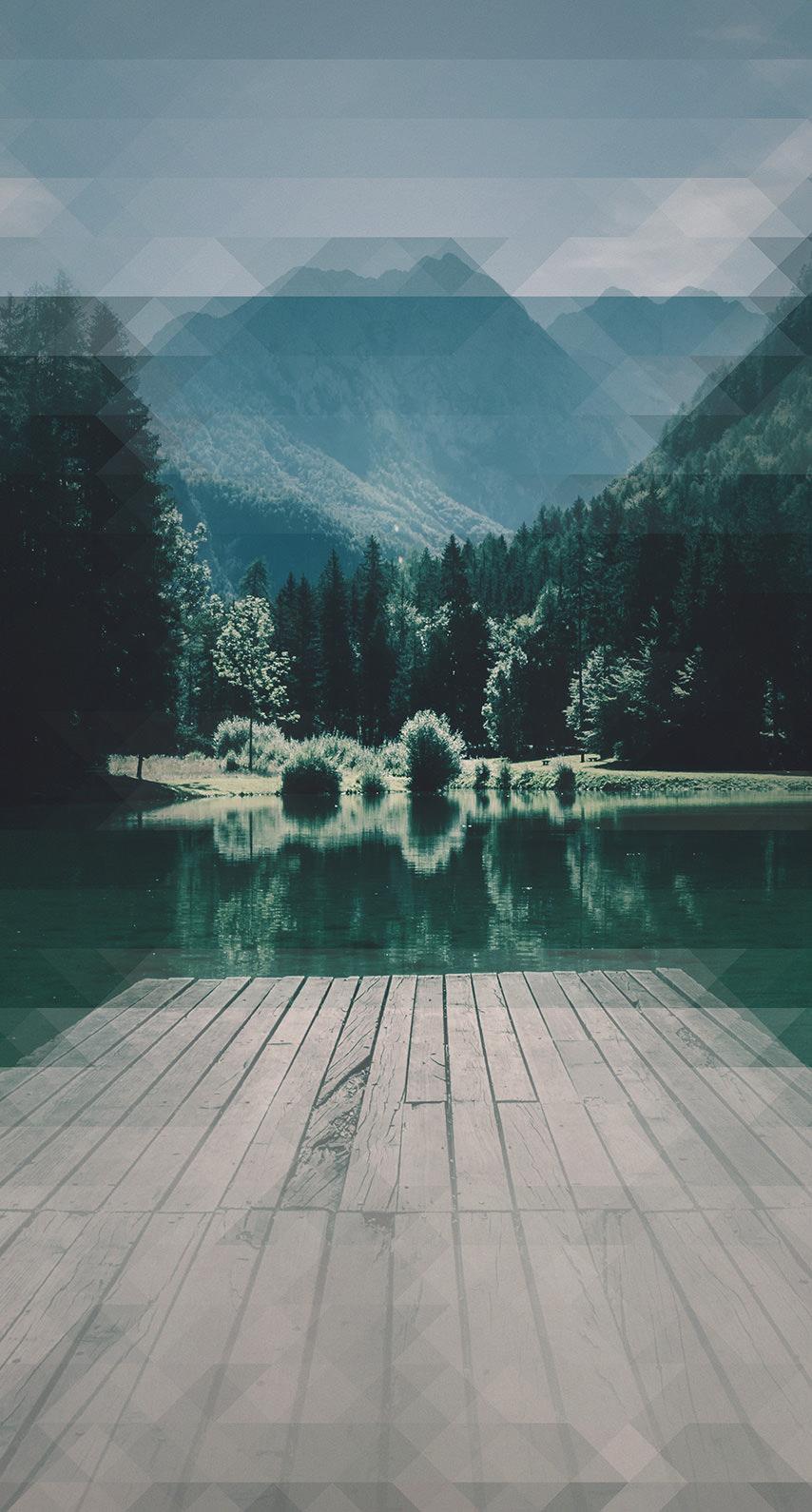 Landscape Lake Pier Green Blue Mountain Wallpaper Sc Iphone7
