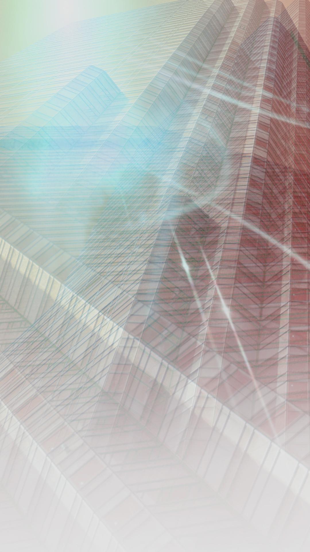 グラデーション建物青の iPhone7 Plus 壁紙