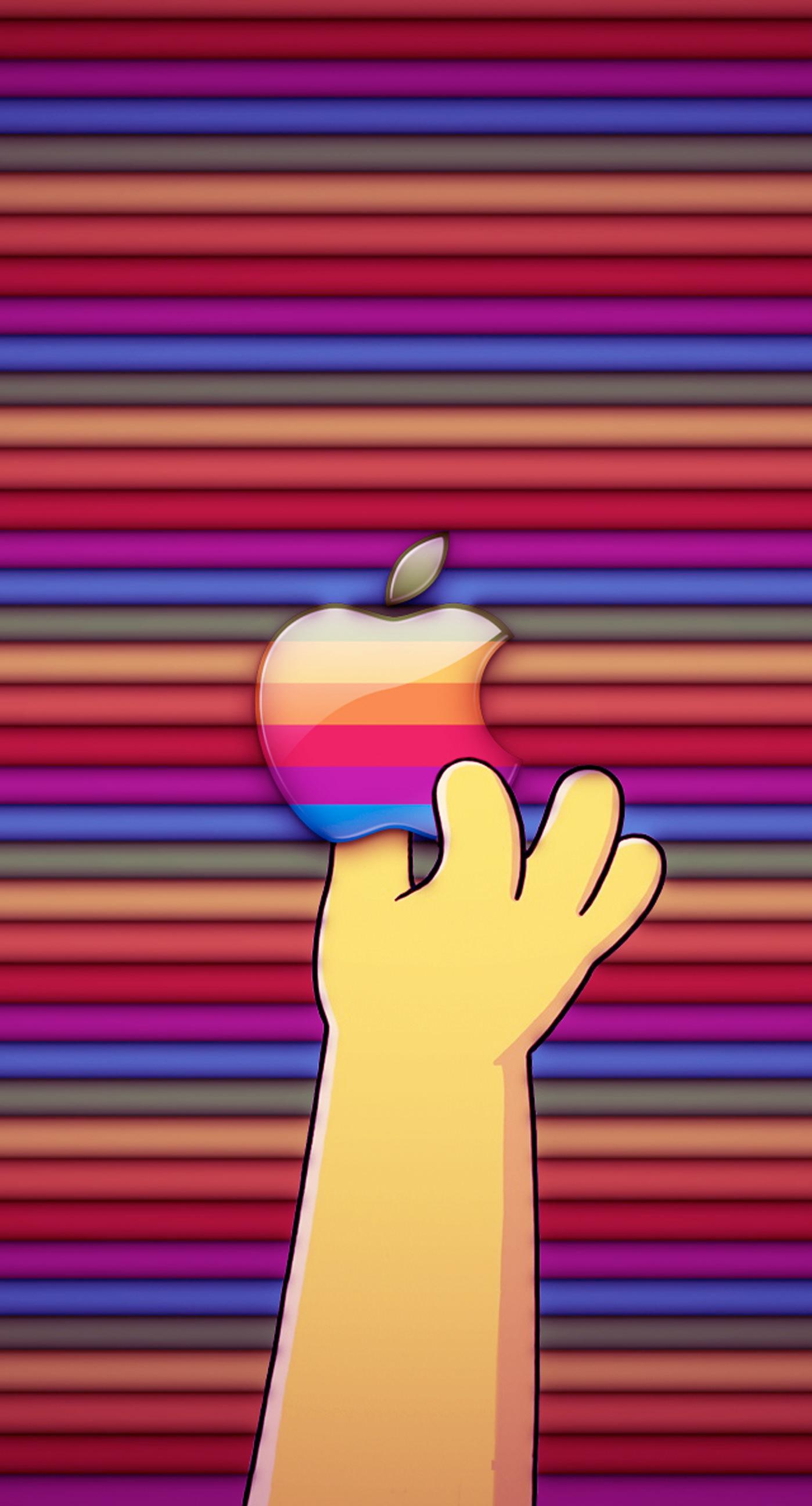 Wallpaper iphone yang keren - Logo Apple Tangan Berwarna Warni Iphone7 Plus Wallpaper
