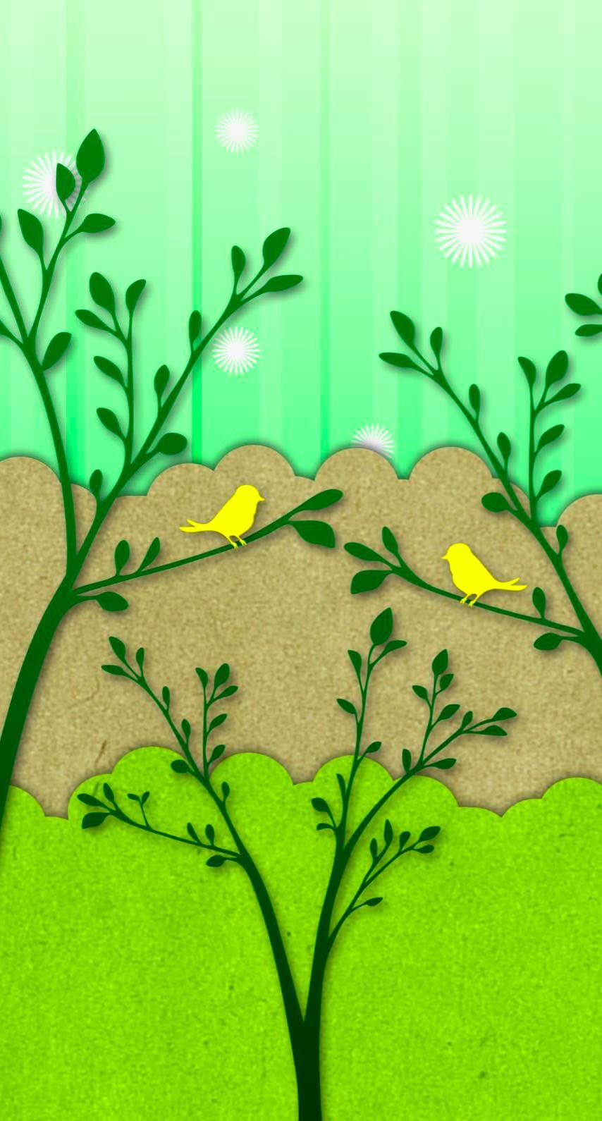 Burung Ilustrasi Kuning Hijau