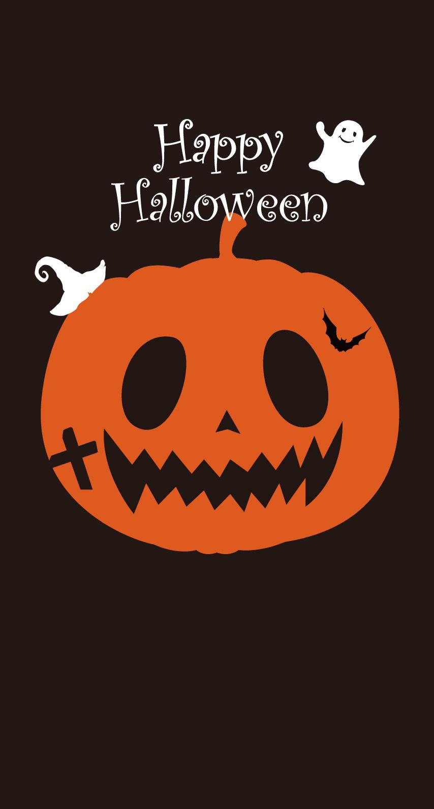 イラストハロウィンかぼちゃ橙 Wallpaper Sc Iphone8壁紙
