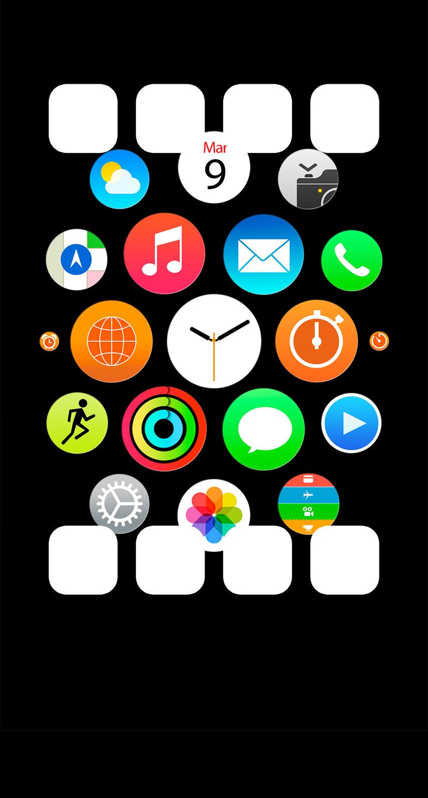 Apple Watch風黒棚 Wallpaper Sc Iphone8壁紙