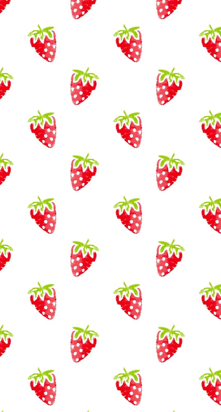 模様イラストフルーツイチゴ赤女子向け Wallpaper Sc Iphone8壁紙