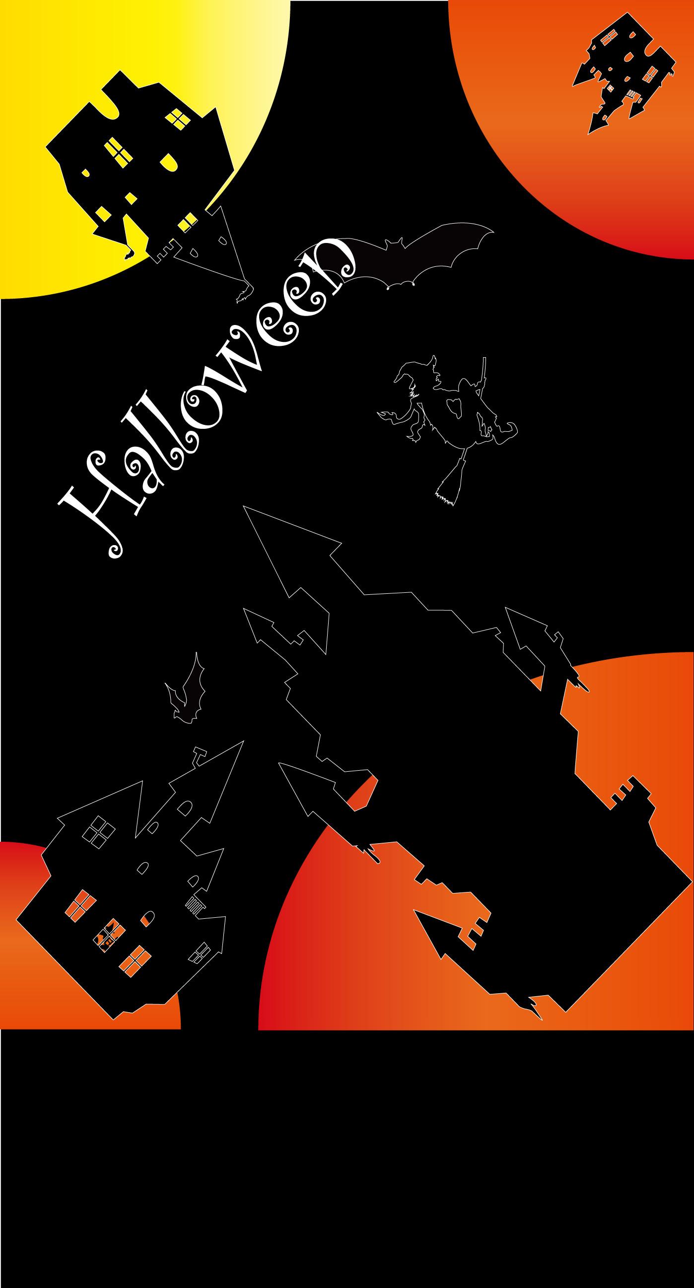 Halloween Illustration Orange Black Wallpaper Sc Iphone8plus