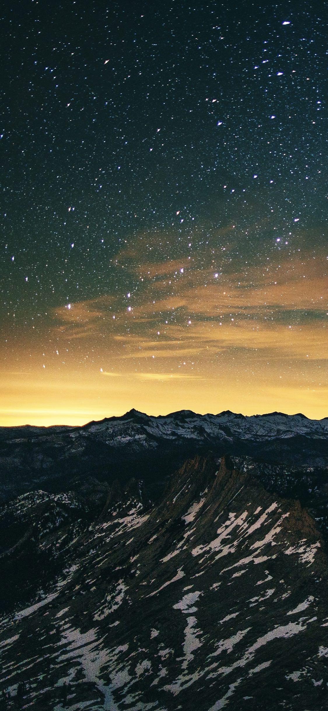newest a0932 d6e5b Mountain landscape night sky | wallpaper.sc iPhoneXS
