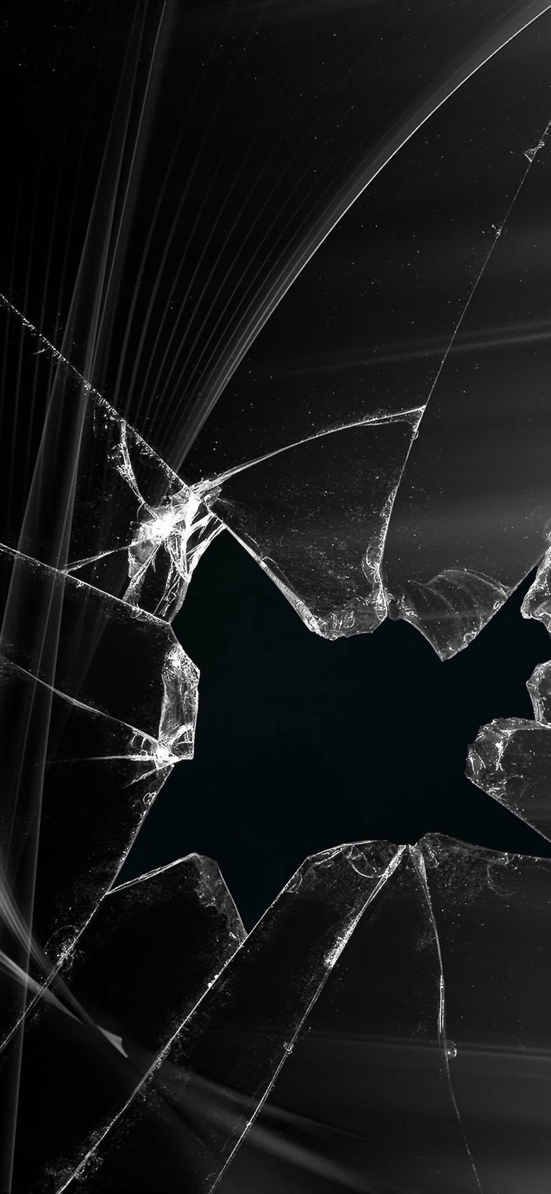 Glass Is Cracked Display Screen Black Wallpaper Sc Iphonexs