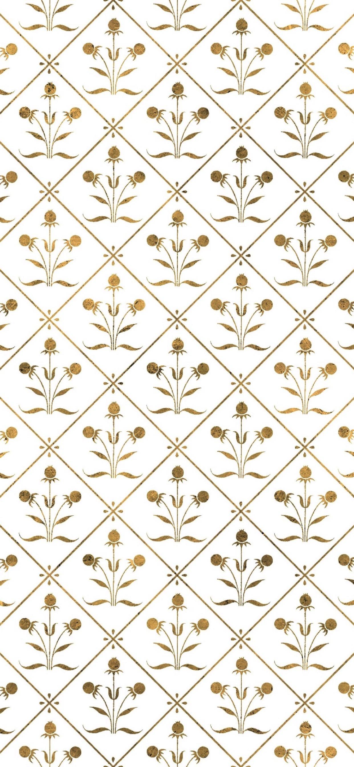 イラスト模様金植物 Wallpapersc Iphone Xs Max壁紙
